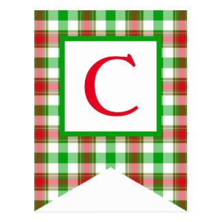 Rote und grüne karierte Flaggen-Postkarten der Postkarte