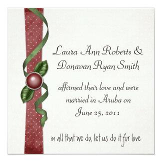 Rote und grüne Posten-Hochzeits-Einladung Quadratische 13,3 Cm Einladungskarte