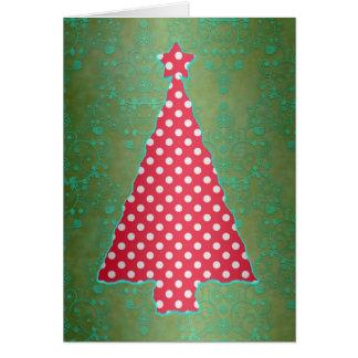 Rote und grüne Tupfen-Weihnachtsbaum-Karte Karte