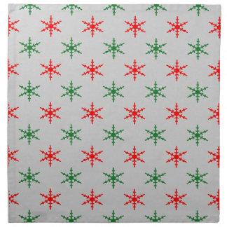 Rote und grüne Weihnachtsschneeflockeservietten Stoffserviette