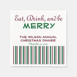 Rote und grüne Weihnachtsservietten Papierserviette