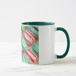 Rote und grüne Weihnachtssüßigkeits-Kaffee-Tasse Tasse