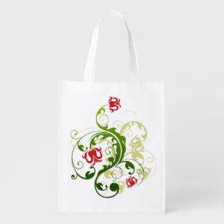 Rote und grüne wiederverwendbare mit wiederverwendbare einkaufstasche