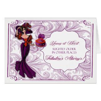 Rote und lila Dame in der Hut-Geburtstags-Karte Karte