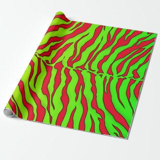 Rote und Limone Tiger-Streifen-Tierdruck Geschenkpapier