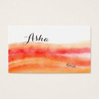 Rote und orange Aquarell-Visitenkarten Visitenkarten