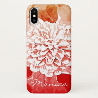 Rote und orange Dahlie-kundengerechter iPhone X Hülle