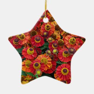 Rote und orange Helenium-Blumen Keramik Ornament