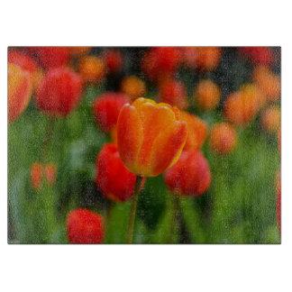 Rote und orange Tulpen im Garten Schneidebrett
