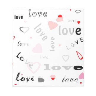 rote und rosa Typografietextentwurfs-Liebeherzen Notizblock