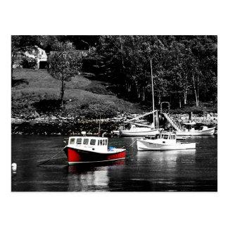 Rote und schwarze Boote Maine Maines Postkarten