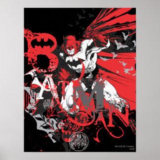 Rote und schwarze Collage Batmans Poster