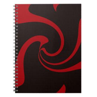 Rote und schwarze Drehung Notizblock