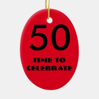 rote und schwarze fünfzigste Geburtstagsverzierung Ovales Keramik Ornament