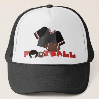 Rote und schwarze Fußball-Kappe/Hut Truckerkappe