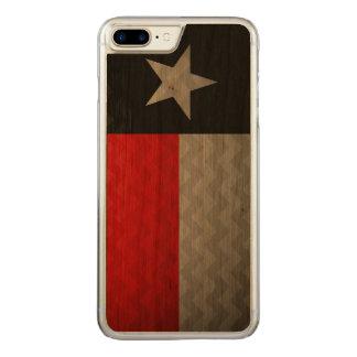 Rote und schwarze gebürstetes Metall Texas Flagge Carved iPhone 8 Plus/7 Plus Hülle