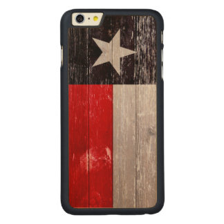 Rote und schwarze gemaltes altes Holz Texas Flagge Carved® Maple iPhone 6 Plus Hülle