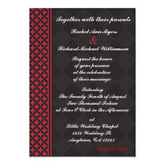 Rote und schwarze Hochzeits-Einladungen Karte