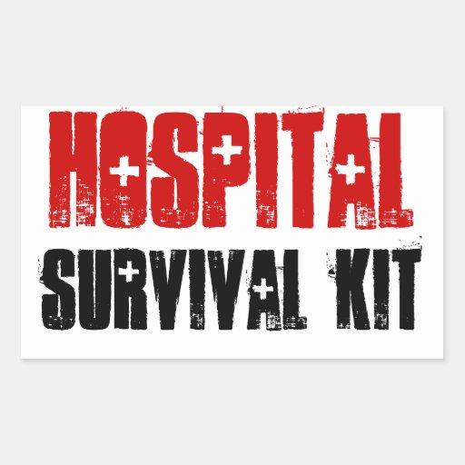 Rote und schwarze Krankenhaus-Überlebensausrüstung Rechteckige Sticker