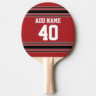 Rote und schwarze Sport-Jersey-Name-Zahl Tischtennis Schläger