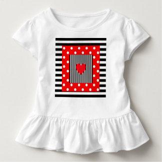 Rote und schwarze Streifen, Tupfenmuster Kleinkind T-shirt