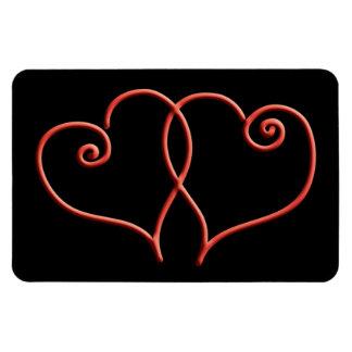 Rote und schwarze Valentinsgruß-Strudel-Herzen Rechteckige Magnete