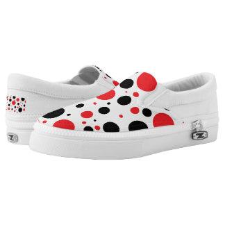Rote und schwarze wunderliche Tupfen Slip-On Sneaker
