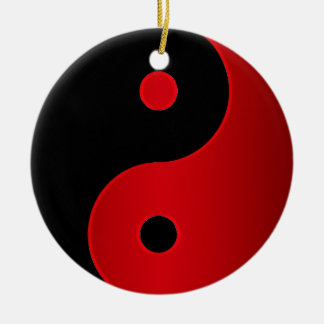 Rote und schwarze Yin-Yang Keramik Ornament