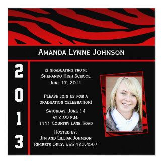 Rote und schwarze Zebra-Druck-Abschluss-Einladung Quadratische 13,3 Cm Einladungskarte