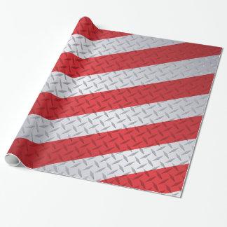 Rote und Stahlweihnachtsstreifen-Diamant-Platte Geschenkpapier
