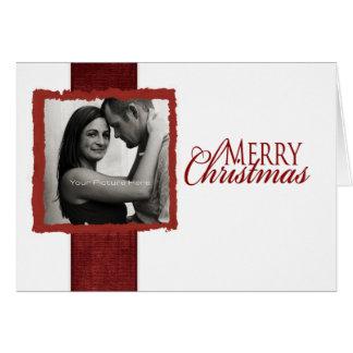 Rote und weiße Band-Foto-Weihnachtskarte Karte