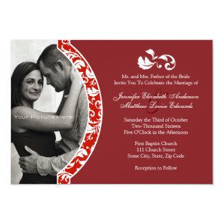Rote und weiße Damast-Foto-Hochzeits-Einladung 12,7 X 17,8 Cm Einladungskarte
