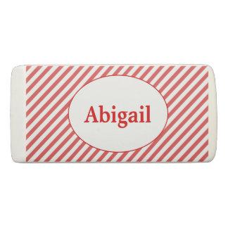 Rote und weiße Diagonale Stripes personalisiertes Radiergummi
