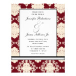Rote und weiße elegante Vintage Hochzeit laden ein Ankündigungskarte