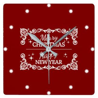 Rote und weiße frohe Weihnachten und guten Rutsch Quadratische Wanduhr