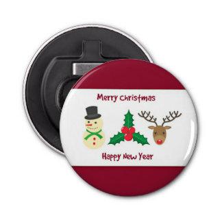 Rote und weiße frohe Weihnachten und guten Rutsch Runder Flaschenöffner