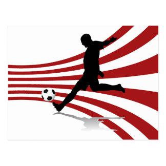 Rote und weiße Fußball-Spieler-Postkarte Postkarte