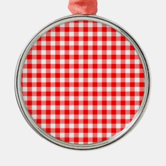 Rote und weiße Gingham-Karos Silbernes Ornament