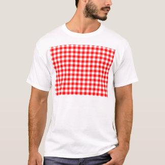 Rote und weiße Gingham-Karos T-Shirt