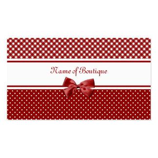 Rote und weiße Gingham-und Polka-Punkt-Butike Visitenkartenvorlage