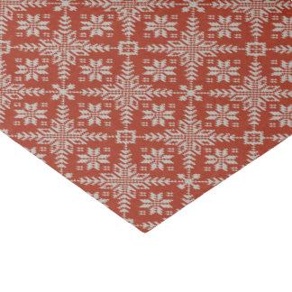 Rote und weiße Imitat-Strickjacke-Schneeflocken Seidenpapier