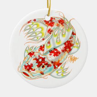 Rote und weiße Koi Verzierung Rundes Keramik Ornament