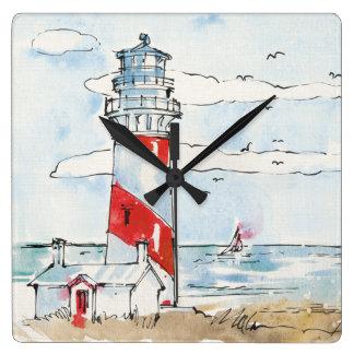 Rote und weiße Leuchtturm-Szene Quadratische Wanduhr