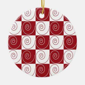 Rote und weiße MäuseSchwänze Keramik Ornament
