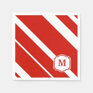 Rote und weiße mutige Streifen-Monogramm-Serviette Servietten