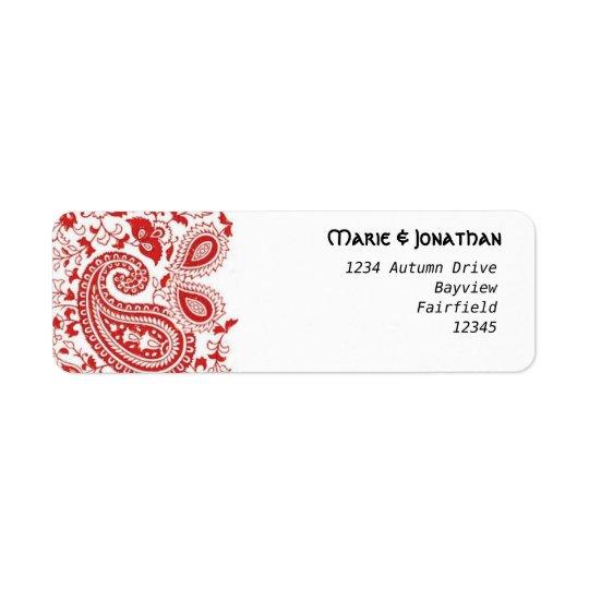 Rote und weiße Paisley-Hochzeit Rücksendeetiketten