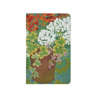 Rote und weiße Pelargonien in Töpfen 2013 Taschennotizbuch