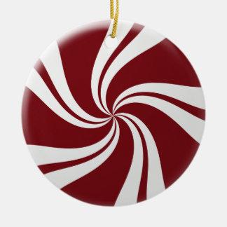 Rote und weiße Pfefferminz-Süßigkeit Keramik Ornament