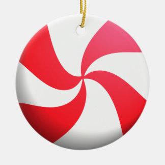 Rote und weiße Pfefferminz-Süßigkeit Rundes Keramik Ornament