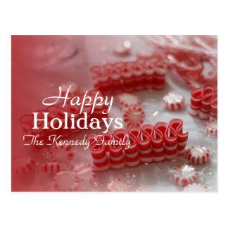 Rote und weiße Pfefferminz, Zuckerstangen und Band Postkarte